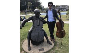 Ruben Palma, 2014 Australian Cello Awards Finalist, with Cherina Sculpture